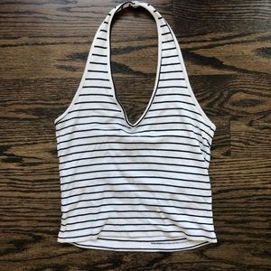 Brandy Melville black and white striped halter top